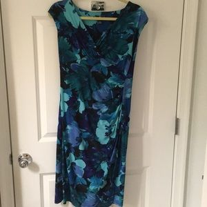 Business casual dress-green and blue
